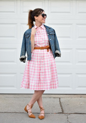 dress sunglasses pink gingham skirt brown flats denim jacket brown belt blogger