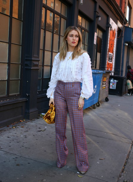 bag tumblr handbag pants plaid pants wide-leg pants blouse white blouse