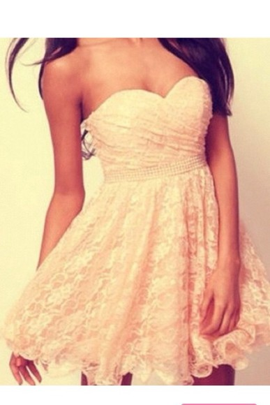 dress beautiful cream dress pretty lace dress girly beauty