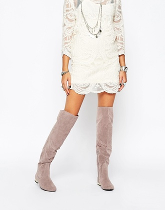 dress asos daisy street crochet dress cream dress white dress