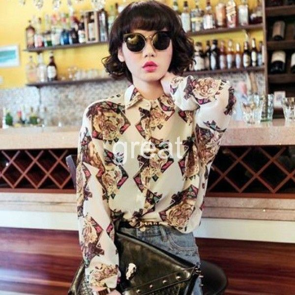 blouse tiger cream vanilla low-budget diamonds retro retro glasses chiffon chiffon tiger blouse low-cost low cost