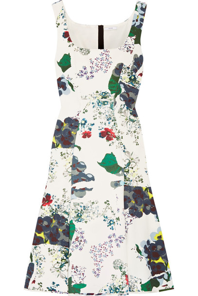 dress jersey dress floral print white green