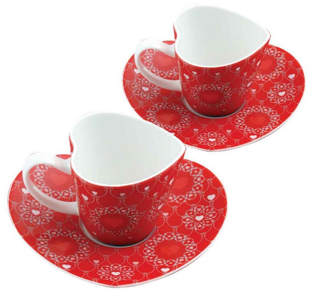 Amazon.com: set of 2 royal fine china ceramic red vintage pattern heart shaped cup and saucer set with gift box.: kitchen & dining