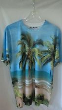 Mens GET A Life Palm Tree Tropical Island Paradise Size L Short Sleeve Shirt | eBay