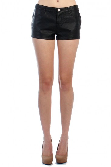 LoveMelrose.com From Harry & Molly    Faux Leather Shorts
