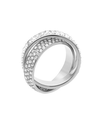 Michael Kors Pave/Baguette Eternity Ring, Silver Color - Michael Kors