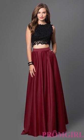 dress black top red skirt prom dress two piece dress set sexy dress