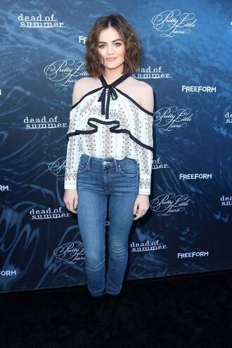 jeans lucy hale blouse off the shoulder skinny jeans denim