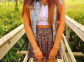 skirt,floral,white lace,crop tops,denim,tank top,jacket,flowers,denim jacket,white,floral skater skirt,cute,shirt,tumblr clothes,spring,pretty,girl,summer,blue jean jacket,necklace,blouse,flowery pattern,sleeveless,floral skirt,black,bottom,jeans,acid wash,best
