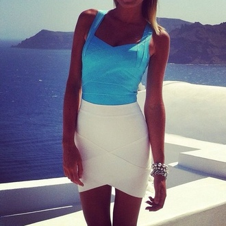 dress blue white bodycon white dress summer dress bodycon dress mini dress white summer dress blue dress short party dresses blue and white white skirt skirt bandage dress bright blue top summer outfit tank top fashion bandage bandage skirt summer outfits shirt
