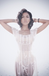 dress,lace,white sheer dress,white lace dress,jhene aiko,sheer top,white top,cover up,lace dress,white dress,blouse,jheneaiko,jhene,see through,see through blouse,monokini,flowers