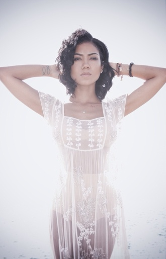 dress lace white sheer dress white lace dress jhene aiko sheer top white top cover up lace dress white dress blouse jheneaiko jhene see through see through blouse monokini flowers