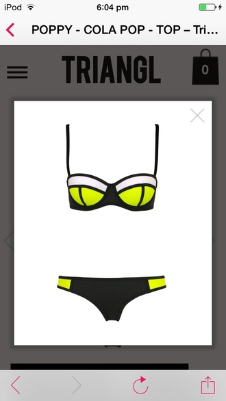 swimwear neon neon yellow block colour bikini triangle