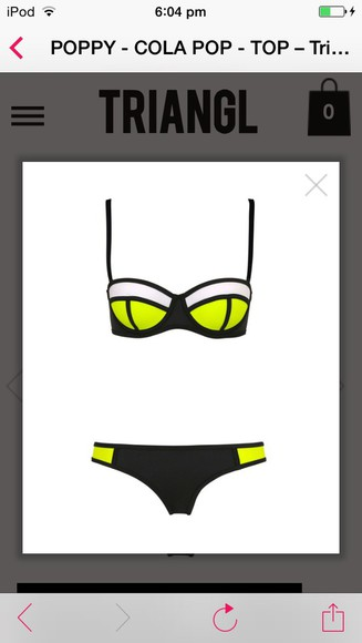 neon neon yellow swimwear bikini triangle block colour