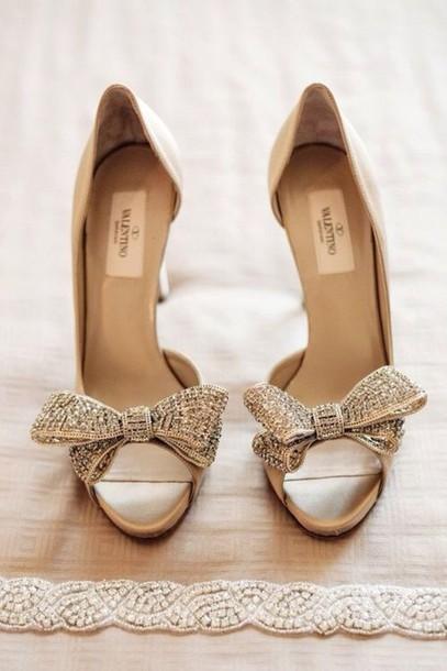 Shoes Bow Heels Wedding High Valentino Luxury Strass Peep Toe