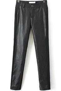 Black Elastic Contrast PU Leather Slim Pant - Sheinside.com