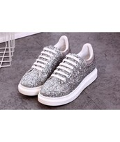 shoes,sneakers,glitter,silver,cool,white,sparkle,trendy,teenagers,grey,it girl shop