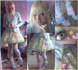 skirt fairy kei tutu harajuku fashion harajuku leg warmers jacket tights shoes