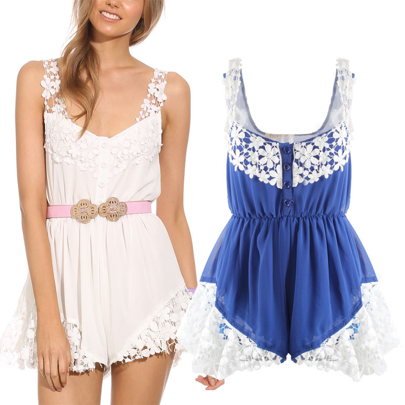 New 2014 Summer Sexy Women Celebrity Sexy Lace Chiffon Party Club Rompers Womens Jumpsuit Women Beach Shorts Playsuit Plus size-in Women from Apparel & Accessories on Aliexpress.com