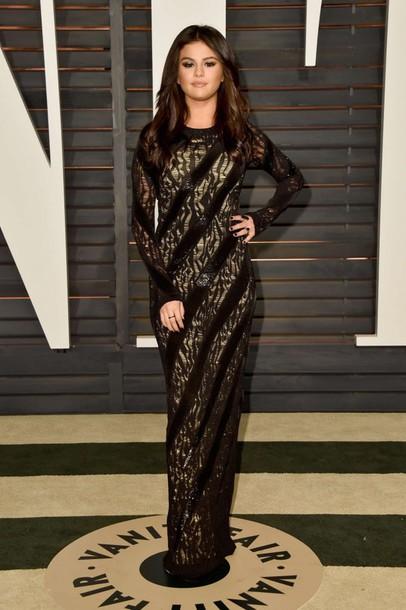 dress oscars 2015 selena gomez gown red carpet dress