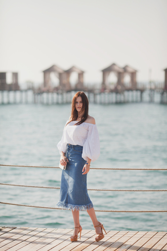 the bow-tie blogger blouse shoes denim skirt off the shoulder white top mini bag fringe skirt bardot top