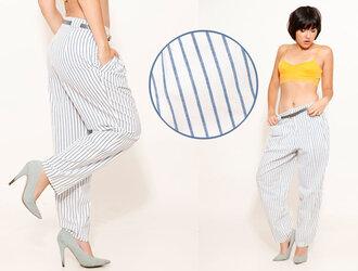 pants stripes trendy low rise pin stripes pleated pants slacks 80s pants slouchy slouchy pants tapered white pants nautical pants baggy pants harem pants harem 80s style high waisted pants