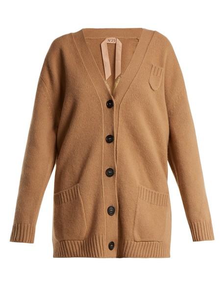 No. 21 cardigan cardigan embellished wool camel sweater