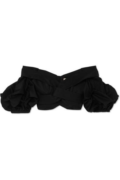 top cropped cotton black