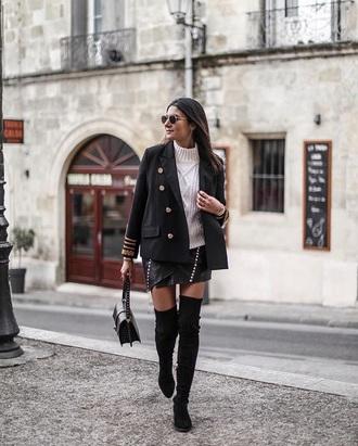jacket blazer black blazer boots white sweater military style skirt mini skirt leather skirt over the knee boots over the knee sweater