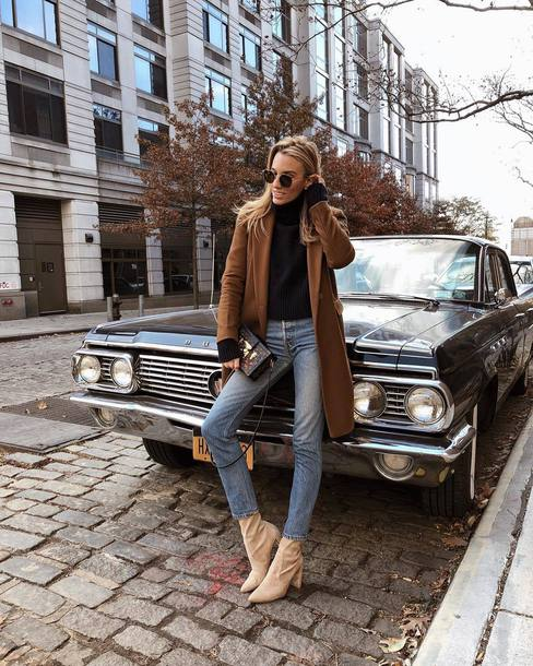 shoes tumblr boots nude boots denim jeans blue jeans coat brown coat sweater knit knitwear sunglasses