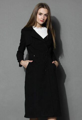 black coat www.ustrendy.com black trench coat detachable skirt storm flap detachable upper detachable lower coat versatile coat