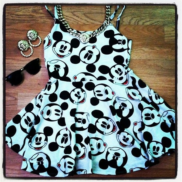 dress mickey mouse short dress disney disney disney dress black and white
