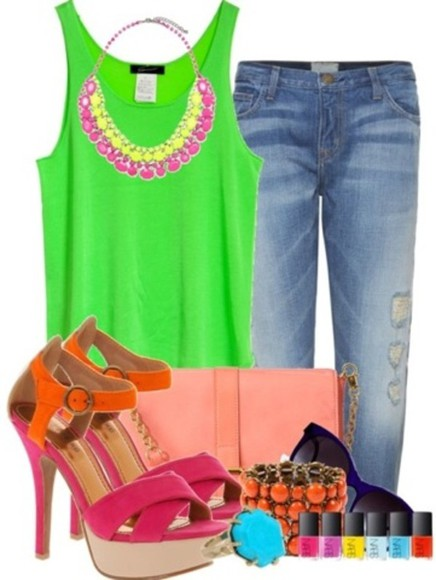 summer shoes neon necklace t-shirt jeans color block spring