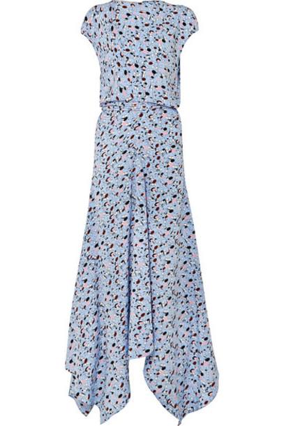 MARNI dress maxi dress maxi blue silk
