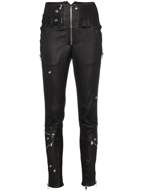 Alexander Mcqueen high waisted zip high women spandex leather cotton black pants