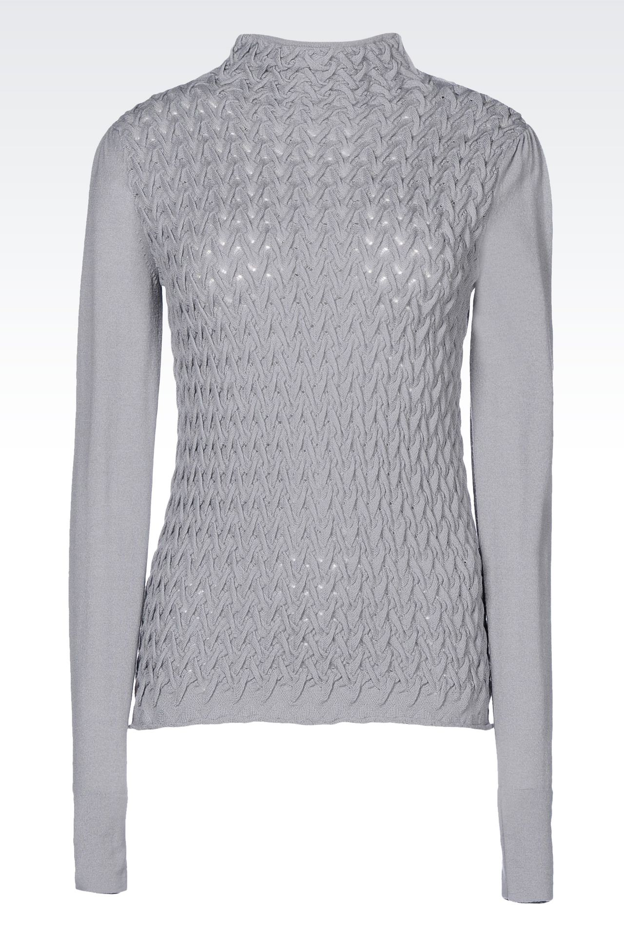 Emporio Armani Women High Neck Sweater - VIRGIN WOOL JUMPER WITH WOVEN DESIGN Emporio Armani Official Online Store