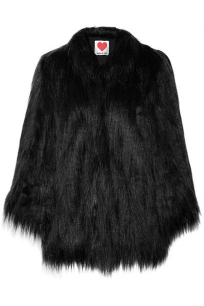 House of Fluff coat faux fur coat fur coat oversized fur faux fur black