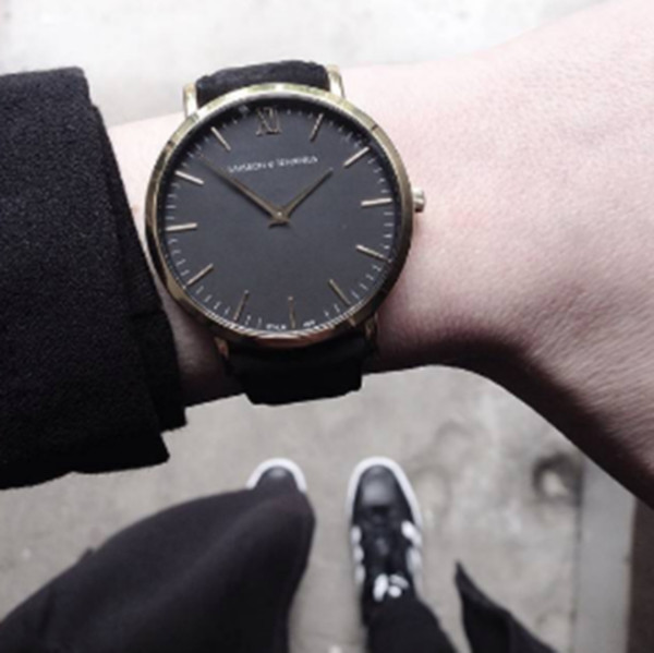jewels watch watch black leather gold minimalist boyish minimalist jewelry black watch unisex larsson and jennings