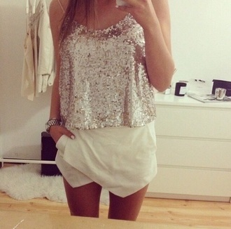 skirt white girly summer outfits tank top white skirt gold top gold sequins sequins night