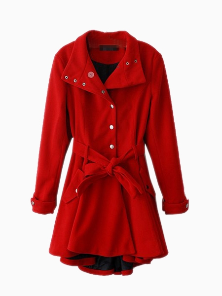 Red popper skater coat
