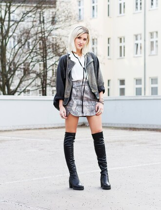 mikuta now blogger skirt knee high boots perfecto snake print