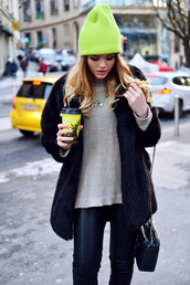 hat,beanie,clothes,green,green beanie,green clothes,green hat,lime,sweater,jacket,coat,cap,pullover,leggings,streetstyle