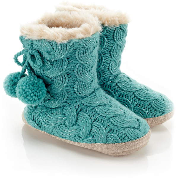 Accessorize Lurex Cable Knit Boot Slippers - Polyvore
