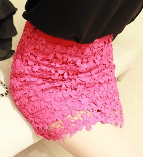 High Waisted Pink Lace Mini Skirt on Luulla