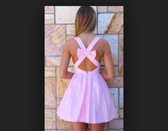 dress pink dress bow back dress