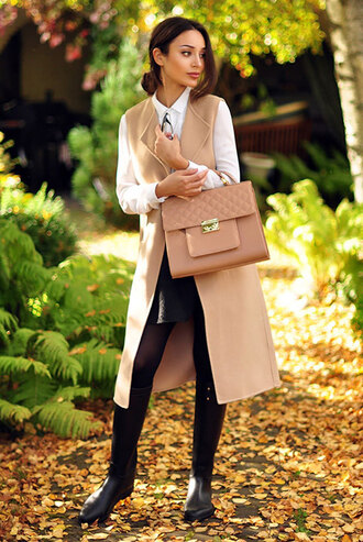jacket white shirt brown vest leather skirt black boots brown handbag blogger