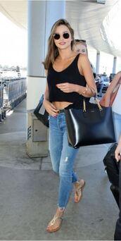 jeans,summer outfits,miranda kerr,sandals,top,sunglasses,purse,bag,blouse,black top,crop