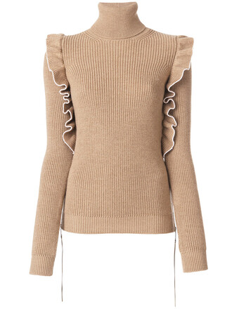 jumper turtleneck women nude wool sweater