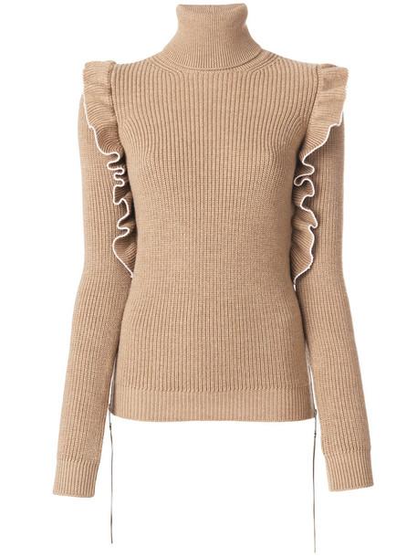 No21 - frilled detail turtleneck jumper - women - Virgin Wool - 44, Nude/Neutrals, Virgin Wool
