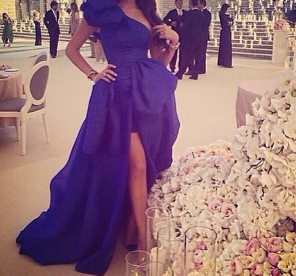 dress royal blue dress prom dress hat hair accessory